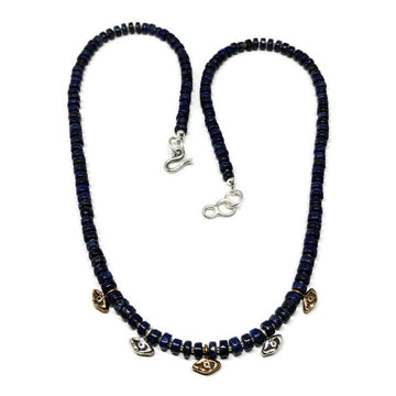 Evil Eye Necklace on Lapis Lazuli