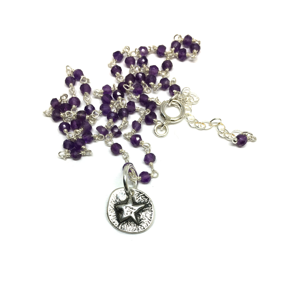 Lucky Star Amulet on Amethyst Chain
