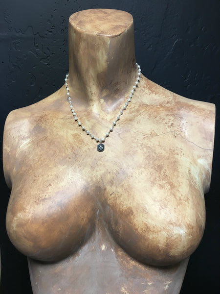 Square Cross on Pearl Chain