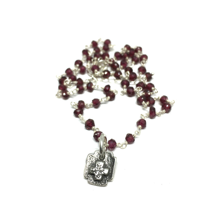 Square Cross Amulet on Garnet Chain