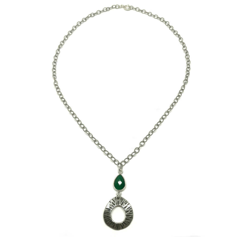 Classic Small Hoop Necklace on Green Onyx