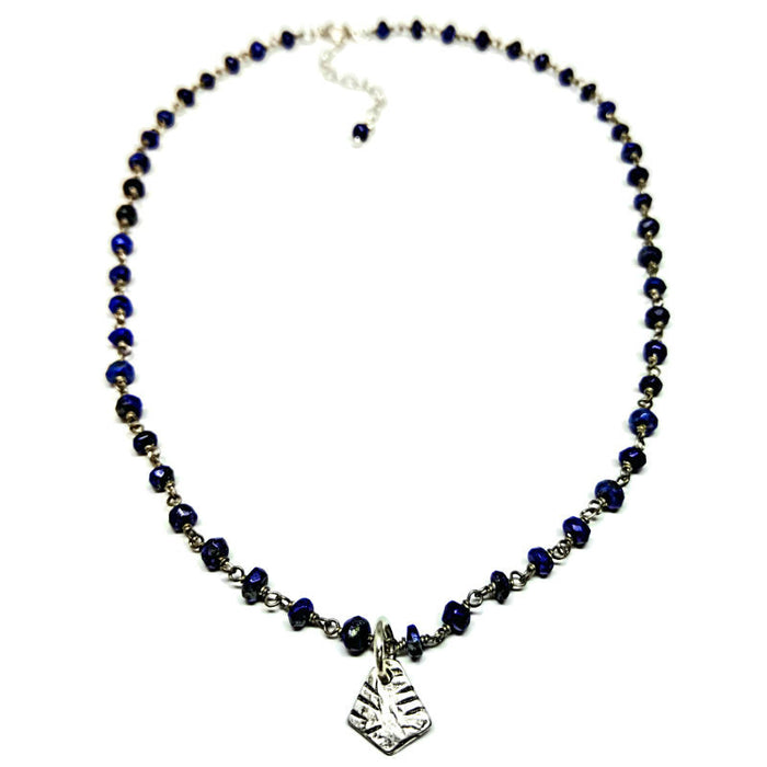 Pyramid Necklace on Lapis Chain