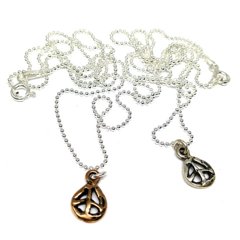 Peace Sign Necklace on Faceted Ball Chain