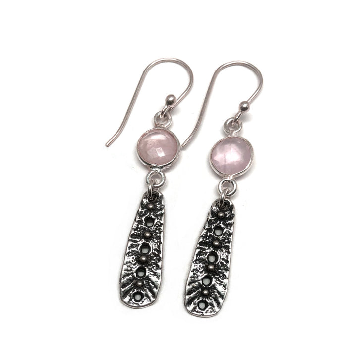 Rain Earrings with Rose Quartz