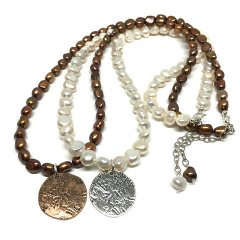 Ancient Coin Necklace on Pearls