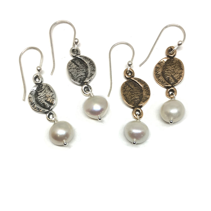 Crescent Moon Pearl Dangle Earrings