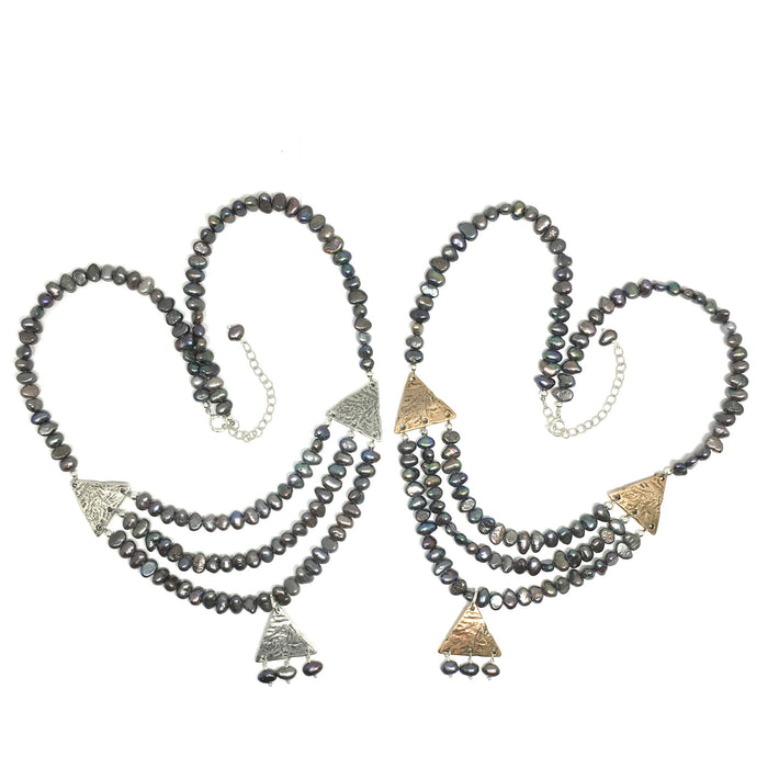 Geom Tribal Statement Necklace with Pearls