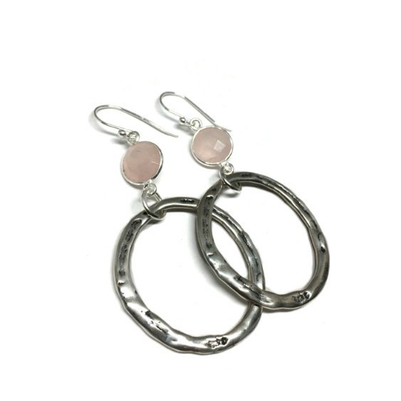 Large Hoop Earrings with Faceted Rose Quartz