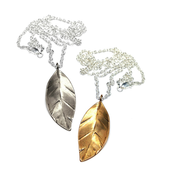"Leaf Necklace on 24"" Chain"