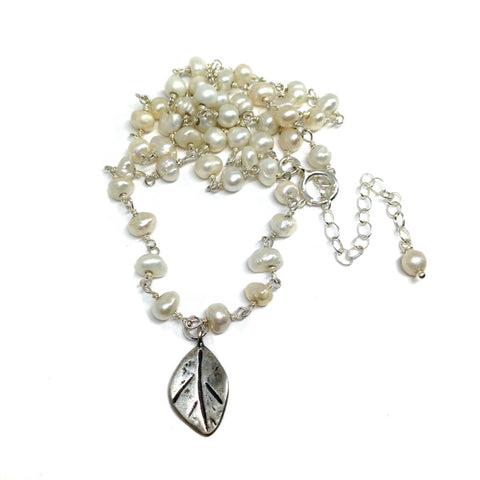 Small Leaf Necklace on Pearl Chain