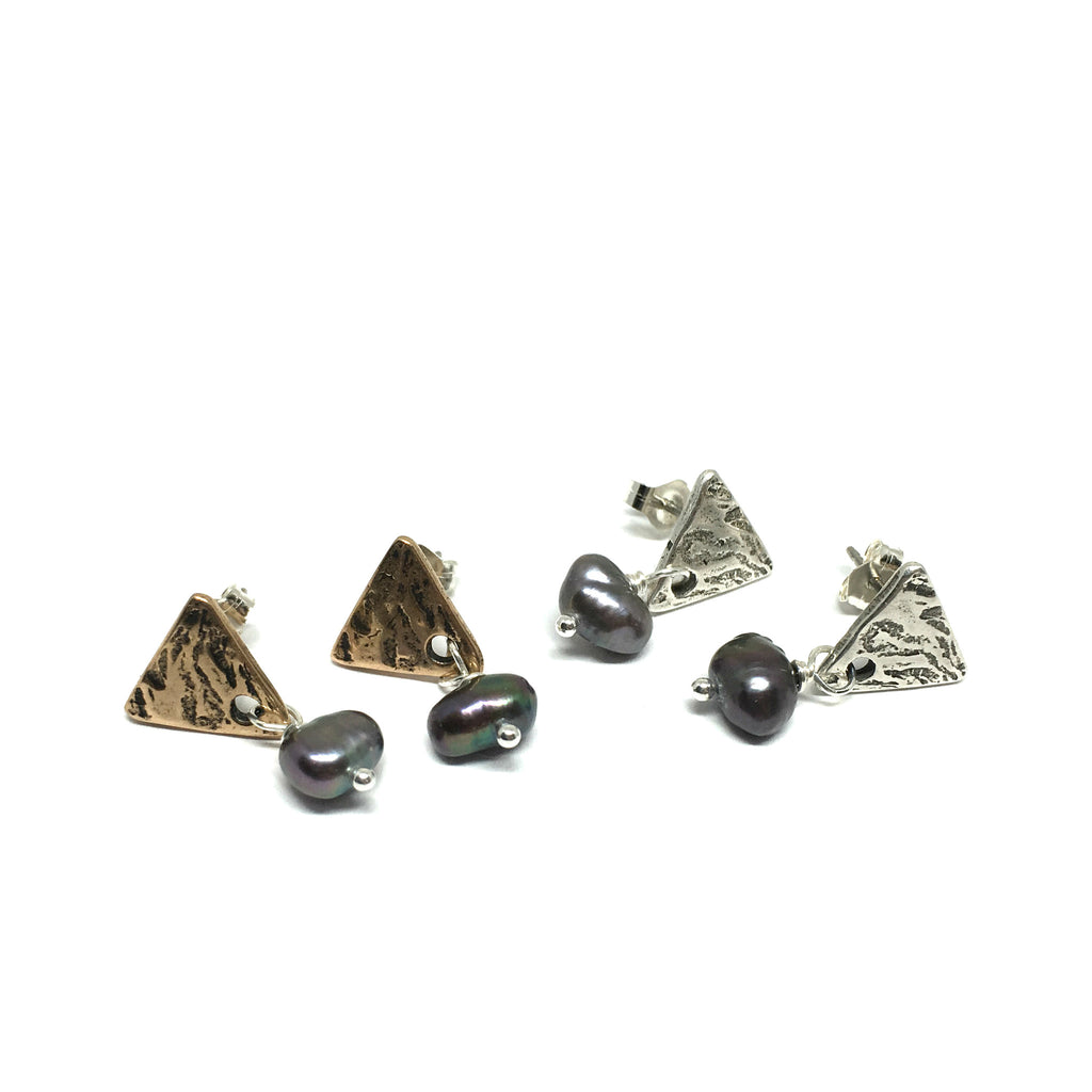 Triangle Post Earrings with Pearl