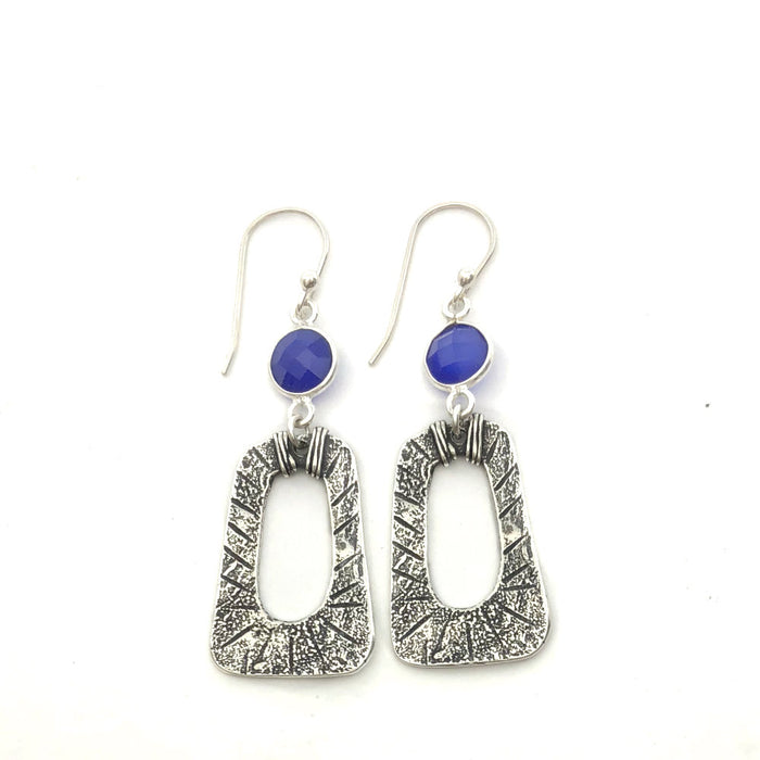 Storm Earrings on Blue Onyx