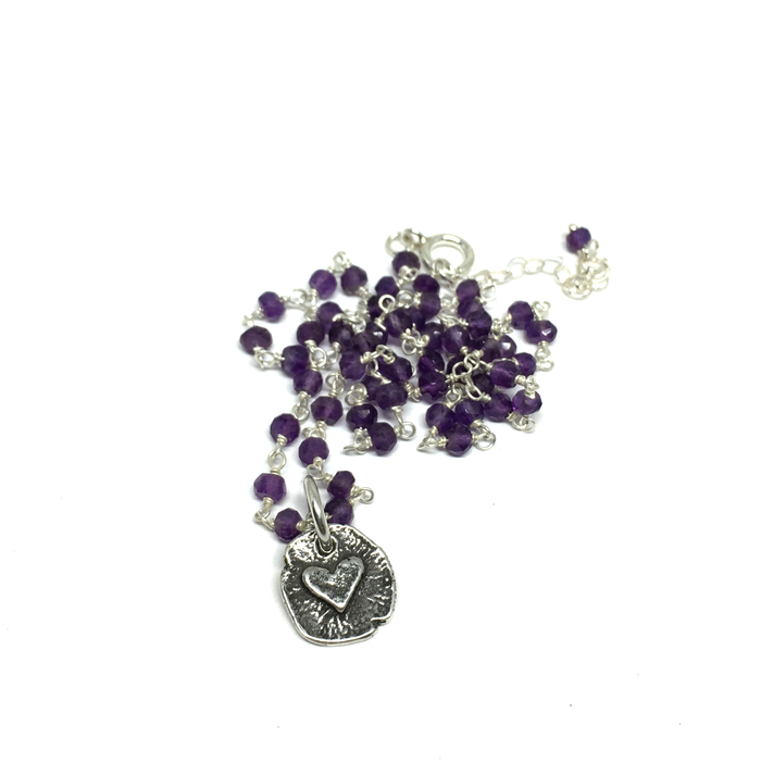 Tiny Heart Necklace on Amethyst Chain