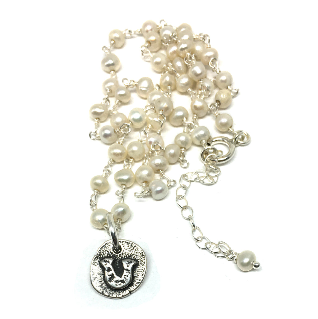 Tiny Horseshoe Necklace on Pearl Chain