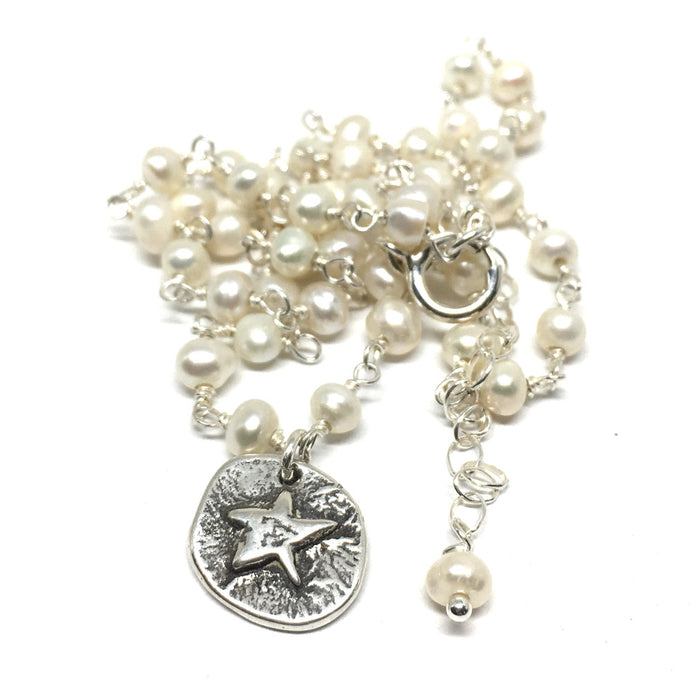 Lucky Star Necklace on Pearl Chain
