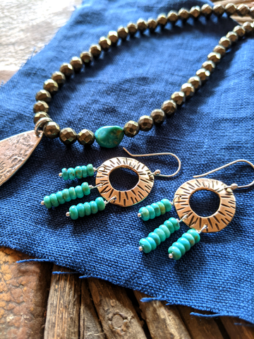 Ancient Bronze and Turquoise Earrings