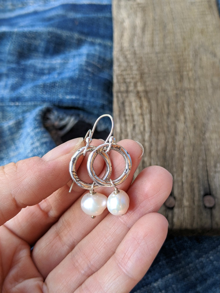 Small Rustic Hoop Pearl Earrings