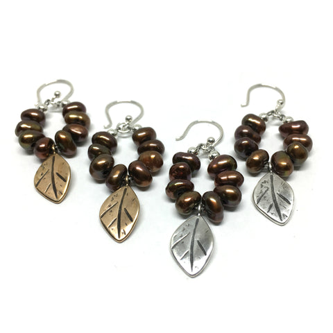 Pearl Hoop Earrings w/ Leaves