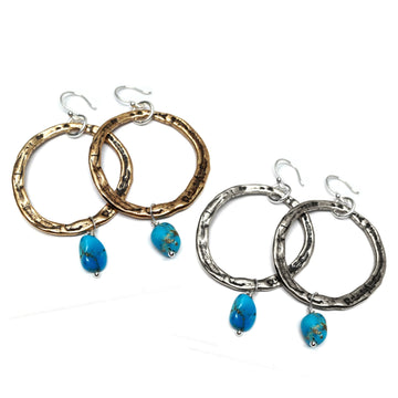 Rustic Hoop Earrings w/ American Turquoise