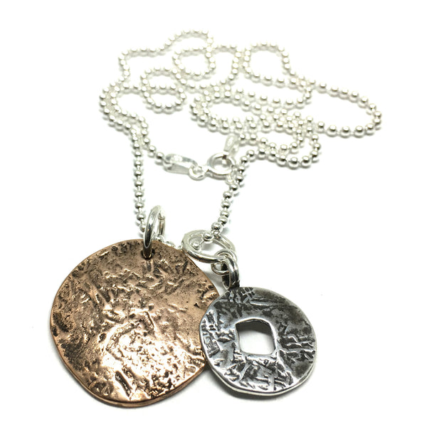 "Ancient Coin Charm Necklace on 20"" Ball Chain"