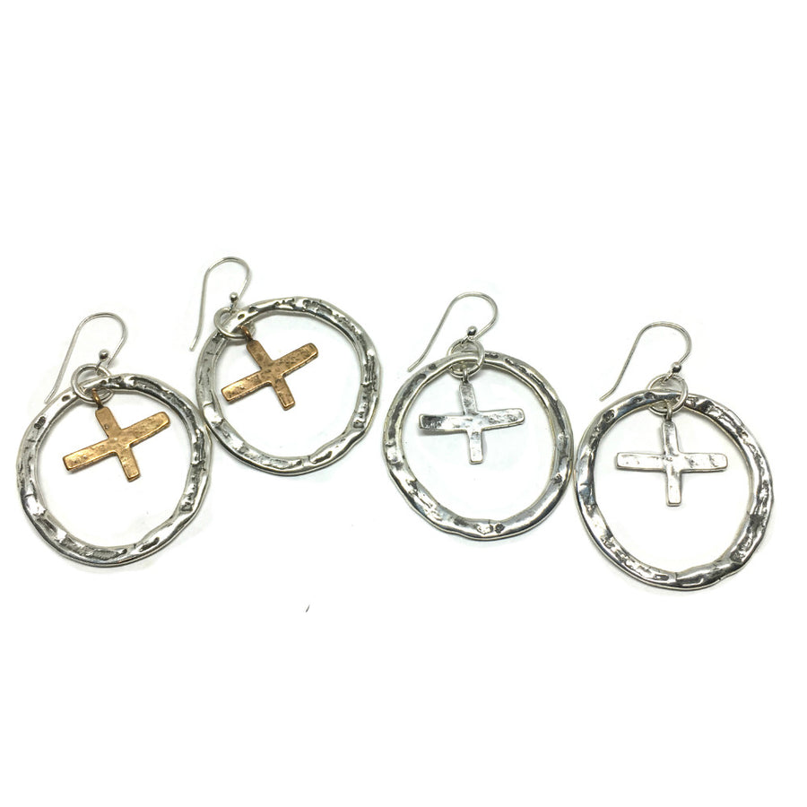 Hoop Earrings Surround Primitive Cross