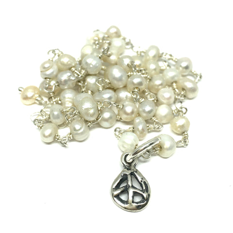 Peace Sign Necklace on Pearl Chain Necklace