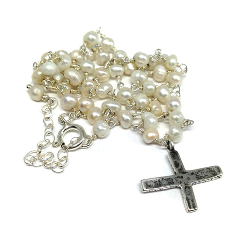 Medieval Cross on Pearl Chain Necklace