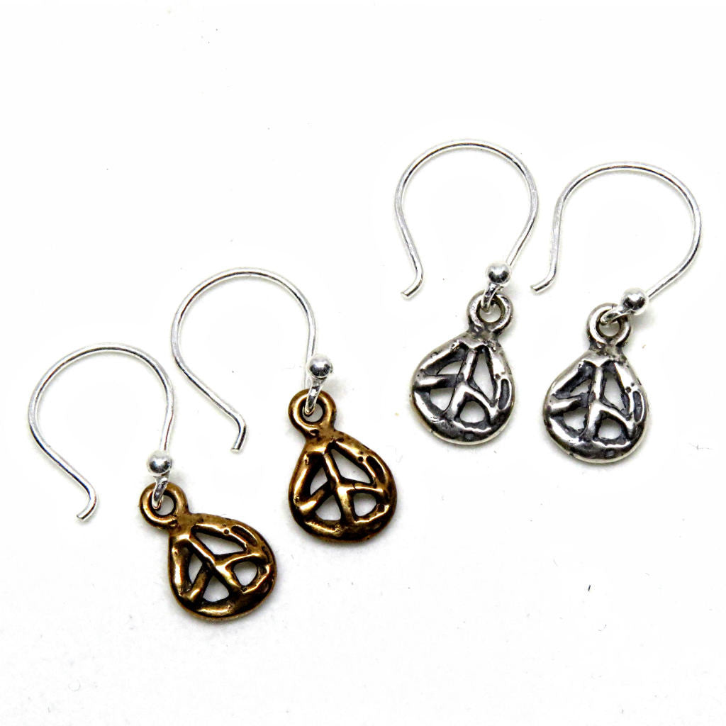 Rosa Kilgore Jewelry Peace Sign Earrings sterling silver or bronze