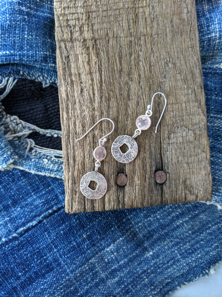 Small Ancient Coin Earrings with Faceted Rose Quartz
