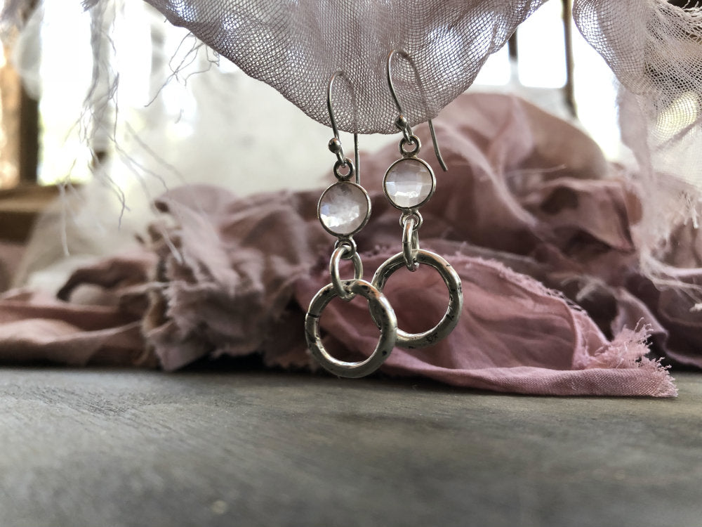 Small Hoop Earrings with Faceted Rose Quartz