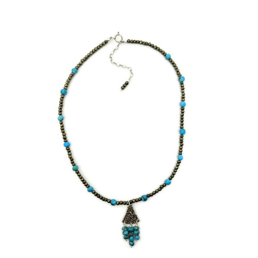 Pyrite and Kingman Turquoise Necklace