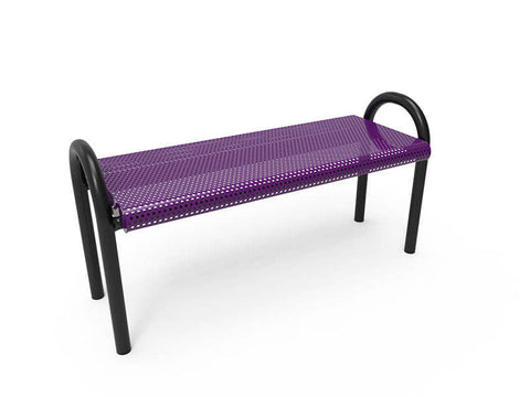Modern bench without back Perforated steel -  Installed