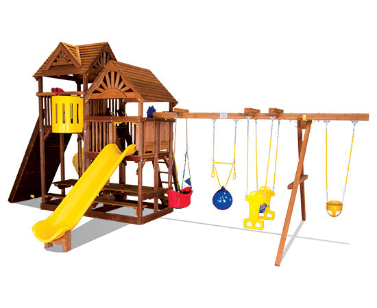 King Kong Clubhouse Quarter Turned Base Pkg II w/ Dual Picnic Tables & Wood Roofs (54E)