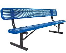 6' perforated steel bench  -  Installed
