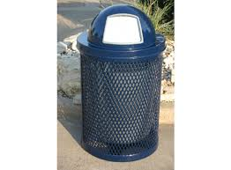 Expanded metal Trash can with hood  -  Installed