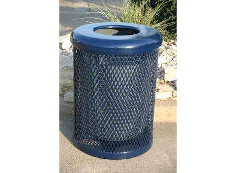Expanded metal Trash can with lid  -  Installed