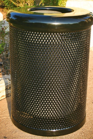 Punched metal Trash can with lid -  Installed