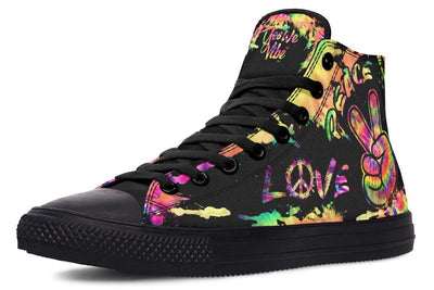 Peace and Love High Top Shoes | Tie Dye