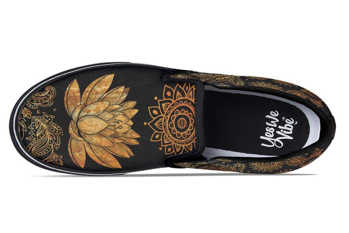 e5fc272dd55ee Golden Elephant Shoes | Black and Gold Slip On Shoes - YesWeVibe