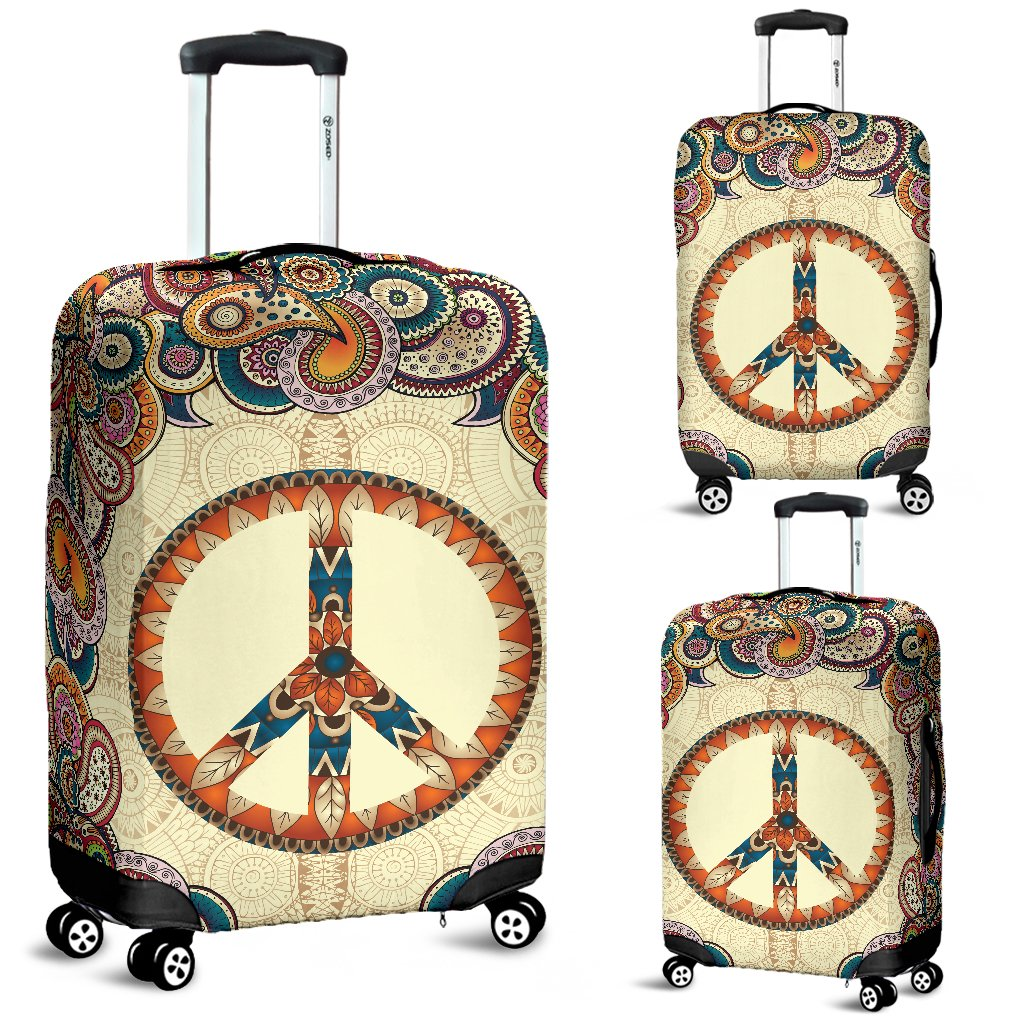 SCOCICI Luggage Cover Colorful Peace Flower Symbol Nature Youthful Flourishes Festive Happiness Hippie Art Protective Travel Trunk Case Elastic Luggage Suitcase Protector Cover