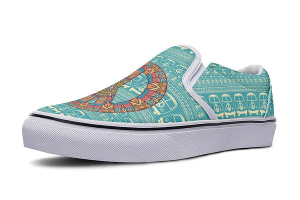 Hippie Peace Sign Shoes | Teal Slip On Shoes | YesWeVibe