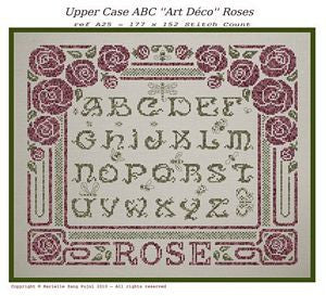 Upper Case ABC Art Deco Roses