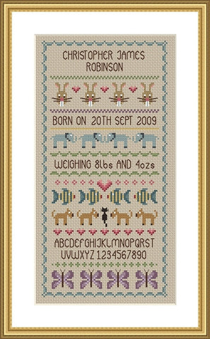 Baby Boy Birth Sampler