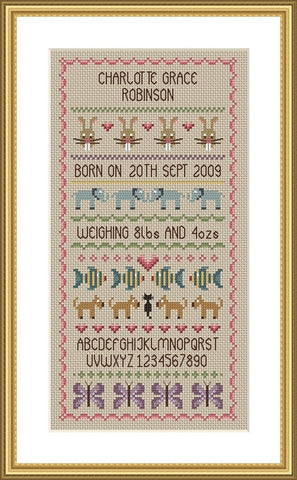 Baby Girl Birth Sampler