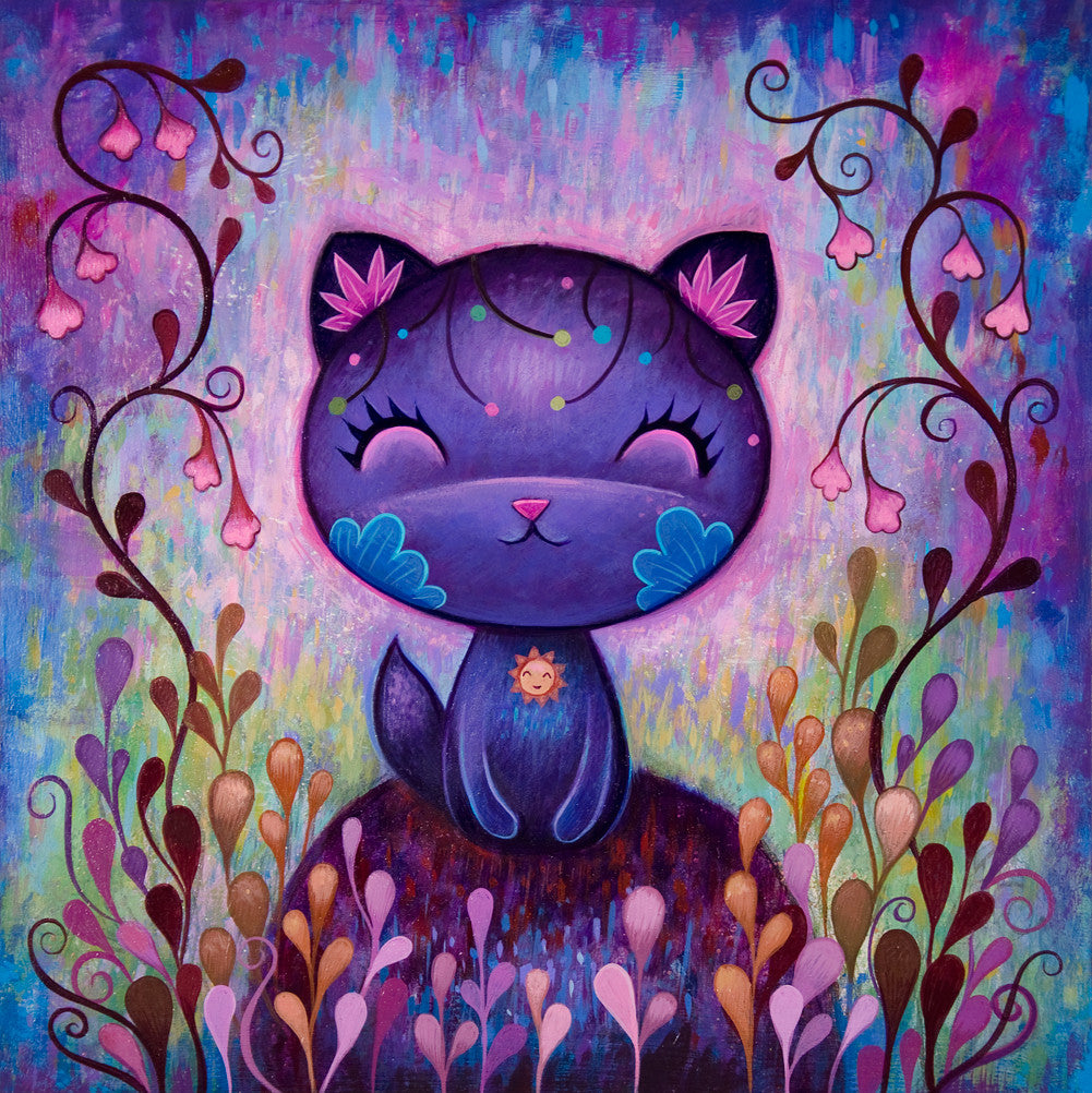 flower kitty fine art print signed jeremiah ketner fine art