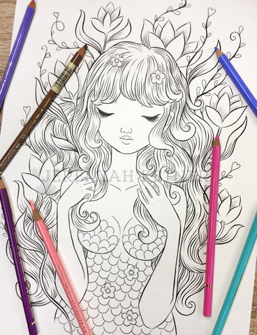 Golden Mermaid - Coloring Page by Jeremiah Ketner - Instant Download