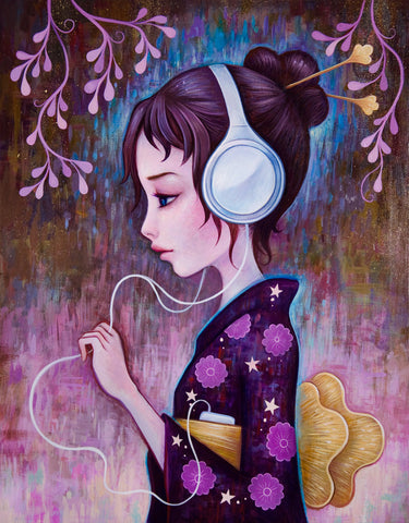 Headphones at night - Fine Art Print, Signed