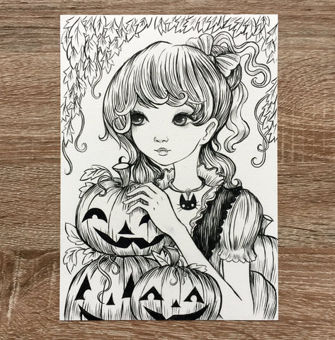 Original inktober Drawing - The Pumpkin Collector
