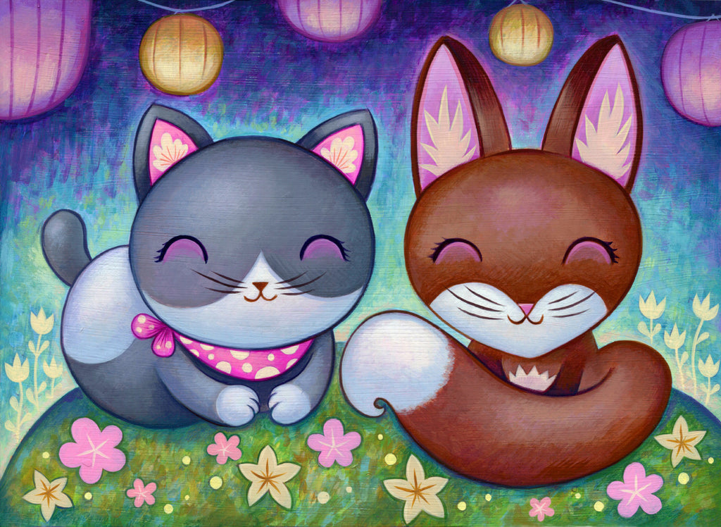 Kitty and Fox - Fine Art Print