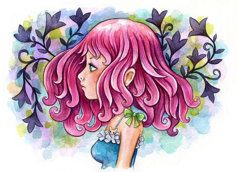 Pink Hair Watercolor
